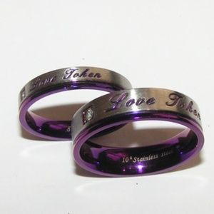 Jewelry - 2pc Love Token Lovers Band Rings